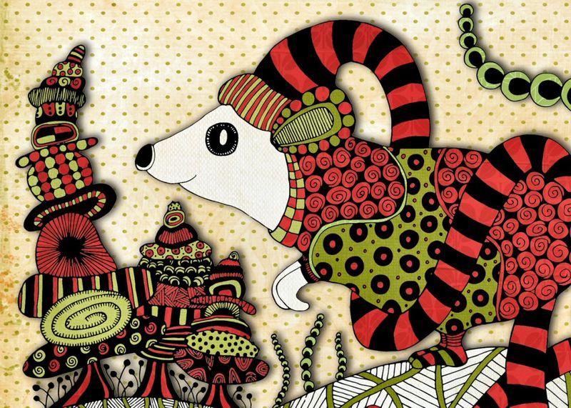 Xmas mouse postcard